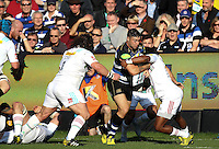 Matt Banahan of Bath Rugby takes on the Harlequins defence. Aviva Premiership match, between Bath Rugby and Harlequins on October 31, 2015 at the Recreation Ground in Bath, England. Photo by: Robbie Stephenson / JMP for Onside Images
