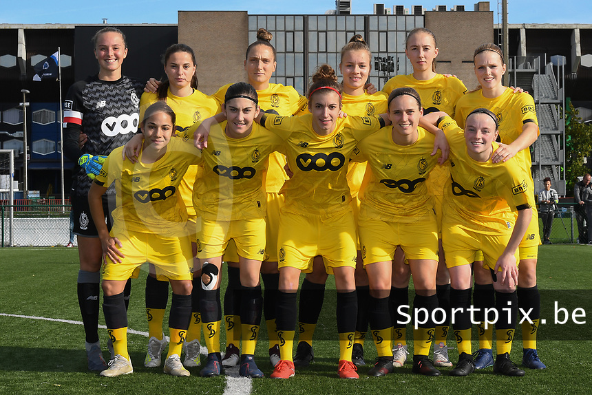 20191026 – Brugge, BELGIUM : Standard's team with Lisa Lichtfus GK)   Sophie Strepenne (2)   Merel Bormans (4)  Noemie Gelders (10)   Lola Waijnblum (11)   Zoe Van Eynde (14)   Elien Nelissen (15)   Maud Coutereels (17)   Constance Brackman (20)   Lisa Petry (21)   Justine Blave (22) pictured during a women soccer game between Club Brugge Dames and Standard Femina de Liege on the seventh matchday of the Belgian Superleague season 2019-2020 , the Belgian women's football  top division , Saturday 26 th October 2019 at the synthetic terrain 4 at the Jan Breydel site in Brugge  , Belgium  .  PHOTO SPORTPIX.BE | DIRK VUYLSTEKE