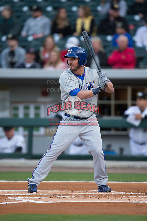 Jake Goebbert (27) of the Durham Bulls at bat against the Charlotte Knights at BB&T BallPark on April 14, 2016 in Charlotte, North Carolina.  The Bulls defeated the Knights 2-0.  (Brian Westerholt/Four Seam Images)