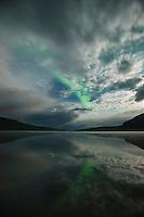 Northern Lights and moonlight over lake Abeskojavri - Abiskojaure, Kungsleden trail, Lapland, Sweden