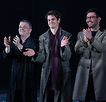 Nathan Lane, Andrew Garfield and James McArdle during the 'Angels in America' Broadway Opening Night Curtain Call Bows at the Neil Simon Theatre on March 25, 2018 in New York City.