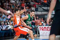 VALENCIA, SPAIN - OCTOBER 18: Lucic and Sergi Vidal during ENDESA LEAGUE match between Valencia Basket Club and FIATC Joventut at Fonteta Stadium on October 18, 2015 in Valencia, Spain