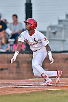 Johnson City Cardinals left fielder DeAndre Asbury-Heath (5) runs to first during Game Two of the Appalachian League Championship series against the Burlington Royals at TVA Credit Union Ballpark on September 7, 2016 in Johnson City, Tennessee. The Cardinals defeated the Royals 11-6 to win the series 2-0.. (Tony Farlow/Four Seam Images)
