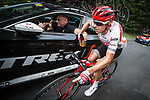 Trek-Segafredo control the peloton during Stage 4 of the Deutschland Tour 2019, running 159.5km from Eisenach to Erfurt, Germany. 1st September 2019.<br /> Picture: Mario Stiehl | Cyclefile<br /> All photos usage must carry mandatory copyright credit (© Cyclefile | Mario Stiehl)