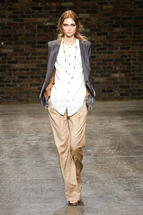 Model walks the runway in an outfit by Chadwick Bell, during the Chadwick Bell Spring 2011 Camouflage Collection fashion show, on September 8, 2010.