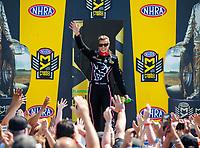 Jun 11, 2017; Englishtown , NJ, USA; NHRA top fuel driver Leah Pritchett during the Summernationals at Old Bridge Township Raceway Park. Mandatory Credit: Mark J. Rebilas-USA TODAY Sports