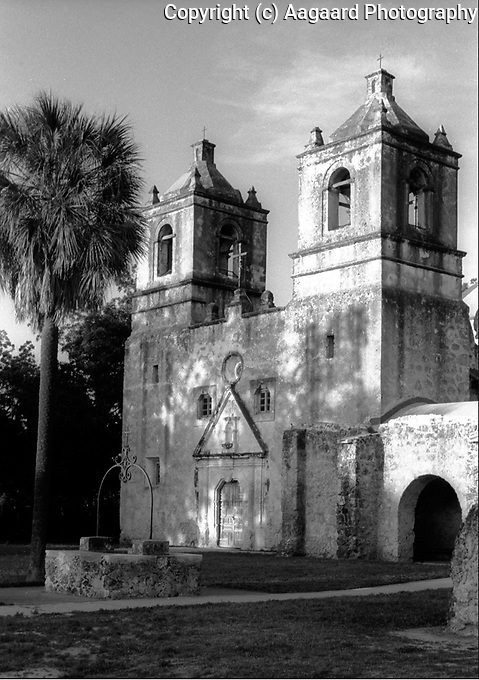 Mission Concepcion at dusk, San Antonio, Texas.<br /> <br /> Canon EOS 1, 50mm lens, Kodak TMAX 400 film