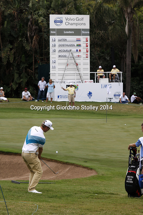 DURBAN - 10 January 2014 - Morten Ørum Madsen chips a shot over the bunker on the 16th hole at the Durban Country Club during the second day of the Volvo Golf Champions event.  Picture: Allied Picture Press/APP