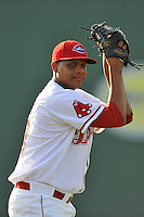 Pitcher Luis Ramos (40) of the Greenville Drive warms up before a game against the Asheville Tourists on Thursday, August 13, 2015, at Fluor Field at the West End in Greenville, South Carolina. Asheville won, 8-1. (Tom Priddy/Four Seam Images)