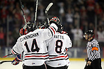 04/30/11--Winterhawks' celebrate after Sven Bartschi scored a goal against  Spokane in Game 5 of the Western Conference Championship at the Rose Garden...Photo by Jaime Valdez.....................................
