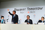 (L to R) <br /> Christel Takigawa, <br />  Naoki Inose, <br /> Tsunekazu Takeda, <br /> Masato Mizuno, <br /> SEPTEMBER 7, 2013 : <br /> A press conference after Tokyo was announced as the winning city bid for the 2020 Summer Olympic Games at the 125th International Olympic Committee (IOC) session in Buenos Aires Argentina, on Saturday September 7, 2013. (Photo by YUTAKA/AFLO SPORT) [1040]