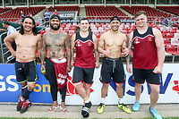 Picture by David Neilson/SWpix.com/PhotosportNZ - 09/02/2018 - Rugby League - Betfred Super League - Wigan Warriors v Hull FC - Captain's Run - WIN Stadium, Wollongong, Australia - Taulima Tautai, Frank Paul-Nuuausala, Ben Flower, Willie Isa and Ryan Sutton.