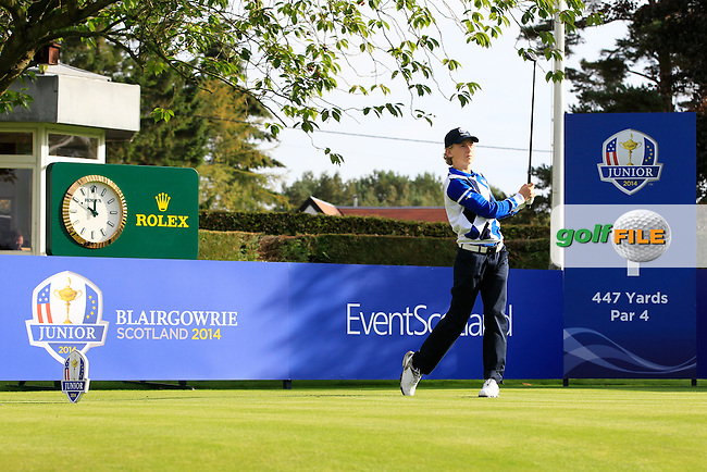 John Axelsen (DEN) on the 1st tee during Day 2 Singles for the Junior Ryder Cup 2014 at Blairgowrie Golf Club on Tuesday 23rd September 2014.<br /> Picture:  Thos Caffrey / www.golffile.ie