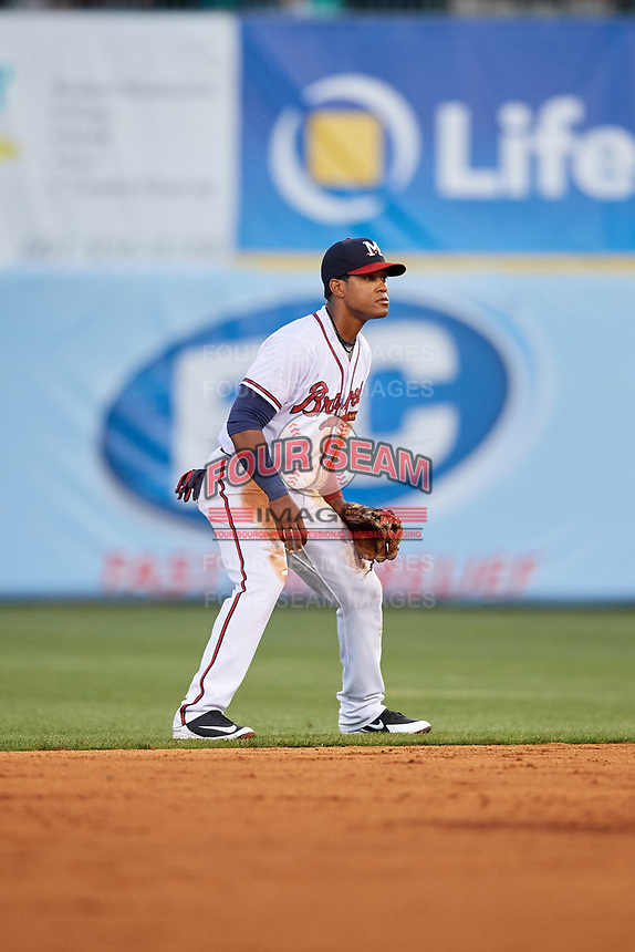 Mississippi Braves second baseman Alay Lago (19) during a game against the Mobile BayBears on May 7, 2018 at Trustmark park in Pearl, Mississippi.  Mobile defeated Mississippi 5-0.  (Mike Janes/Four Seam Images)