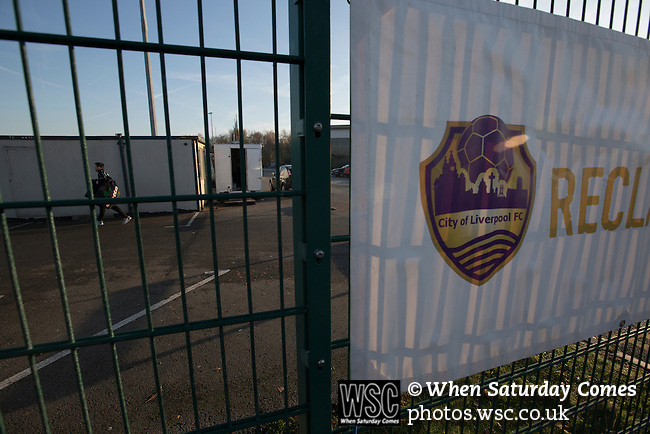 City of Liverpool 6 Holker Old Boys 1, 10/12/2016. Delta Taxis Stadium, North West Counties League Division One. A banner outside the Delta Taxis Stadium, Bootle, Merseyside before City of Liverpool hosted Hanley Town in a North West Counties League Macron Cup match. Founded in 2015, and aiming to be the premier non-League club in Liverpool, City were admitted to the League at the start of the 2016-17 season and were using Bootle FC's ground for home matches. The match was postponed due to a frozen pitch, City of Liverpool winning the rearranged tie 2-0. Photo by Colin McPherson.