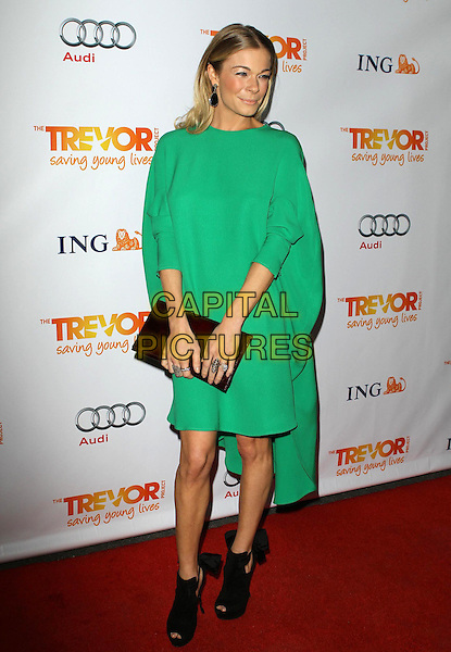 LeAnn Rimes.Trevor Live at The Hollywood Palladium in Hollywood, California, USA..December 4th, 2011.full length dress green clutch bag ankle boots shoes black peep toe   .CAP/ADM/KB.©Kevan Brooks/AdMedia/Capital Pictures.