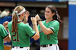 CHAPEL HILL, NC - MAY 11: Notre Dame's Rachel Nasland (6) and Karley Wester (21) during player introductions. The #4 Boston College Eagles played the #5 University of Notre Dame Fighting Irish on May 11, 2017, at Anderson Softball Stadium in Chapel Hill, NC in a 2017 Atlantic Coast Conference Tournament Quarterfinal Softball game. Notre Dame won the game 9-5 in eight innings.
