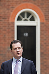 © Joel Goodman - 07973 332324 . 12/06/2013 . London , UK . The British Chancellor of the Exchequer , GEORGE OSBORNE , leaves 11 Downing Street this morning (Wednesday 12th June) ahead of Prime Minister's Questions . Photo credit : Joel Goodman