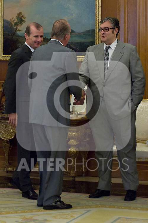 12.09,2012. King Juan Carlos I of Spain attend the delivery of 'XXIII FIES Journalism Award', awarded to Juan Manuel de Prada at the Zarzuela Palace. In the image (L-R) Rafael Guardans (President of FIES), King Juan Carlos of Spain and Juan Manuel de Prada (Alterphotos/Marta Gonzalez)