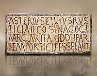6th century Inscription of the great hall of the synagogue of Nam-Ham-mam-Lif in the Roman province of Africa Proconsularis, present day Tunisia. The mosaic floor of the vestibule (porticus) was an offering from Asterius son of Rusticus, the Head of the Jewish community who was working in the Naro jewellers trade. The mosaic reads in Latin  &quot;Asterius, filius Rustici, arcosinagogi, margaritari, (de d(onis) dei partemporticites-selavit&quot;.  The Bardo National Museum, Tunis Tunisia<br /> <br /> The so called synagogue of Naro (Hammam-Lif, Tunisia), discovered in 1883, is a square buil-ding (20 by 20 m), consisting of several rooms and hallways communicating with an inner courtyard. The plan is inspired by traditional domestic architecture of Roman Africa. The room, dedicated to religious ceremonies, was paved with a magnificent mosaic of several figured panels with an iconography highlighting Judaeo-Christian concepts, attesting a proselyte attitude addressing a local Judaic community, who was very active between the late fifth c. and the early sixth century AD.