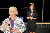 Miss Wisconsin, Laura Kaeppeler, laughs as she is introduced by Blessed Sacrament principal Carol Degen during her visit to the school on Thursday, Oct. 6, 2011 in Milwaukee. Degen was Laura's sixth grade teacher at St. Therese in Kenosha. Ernie Mastroianni photo.
