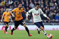 Joao Moutinho of Wolverhampton Wanderers and Giovani Lo Celso of Tottenham Hotspur during Tottenham Hotspur vs Wolverhampton Wanderers, Premier League Football at Tottenham Hotspur Stadium on 1st March 2020