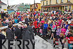 Minister Jimmy Deenihan recounts some fond memories of his time with Mick O'Dwyer as he addresses a large crowd in Waterville on Saturday evening at the unveiling of Mick O'Dwyer's statue.