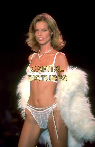 EVA HERZIGOVA .Ref: 9602.catwalk, lingerie, underwear, bra, panties, knickers, fur, half length, half-length.www.capitalpictures.com.sales@capitalpictures.com.©Capital Pictures