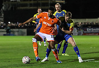Blackpool's Michael Nottingham competing with Solihull Moors' Kyle Storer<br /> <br /> Photographer Andrew Kearns/CameraSport<br /> <br /> The Emirates FA Cup Second Round - Solihull Moors v Blackpool - Friday 30th November 2018 - Damson Park - Solihull<br />  <br /> World Copyright © 2018 CameraSport. All rights reserved. 43 Linden Ave. Countesthorpe. Leicester. England. LE8 5PG - Tel: +44 (0) 116 277 4147 - admin@camerasport.com - www.camerasport.com