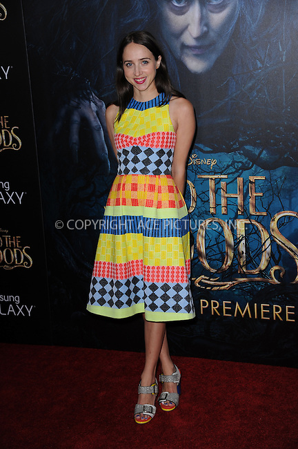 WWW.ACEPIXS.COM<br /> December 8, 2014 New York City<br /> <br /> Zoe Kazan attending the World Premiere of 'Into the Woods' at the Ziegfeld Theatre on December 8, 2014 in New York City.<br /> <br /> Please byline: Kristin Callahan/AcePictures<br /> <br /> Tel: (212) 243 8787 or (646) 769 0430<br /> e-mail: info@acepixs.com<br /> web: http://www.acepixs.com