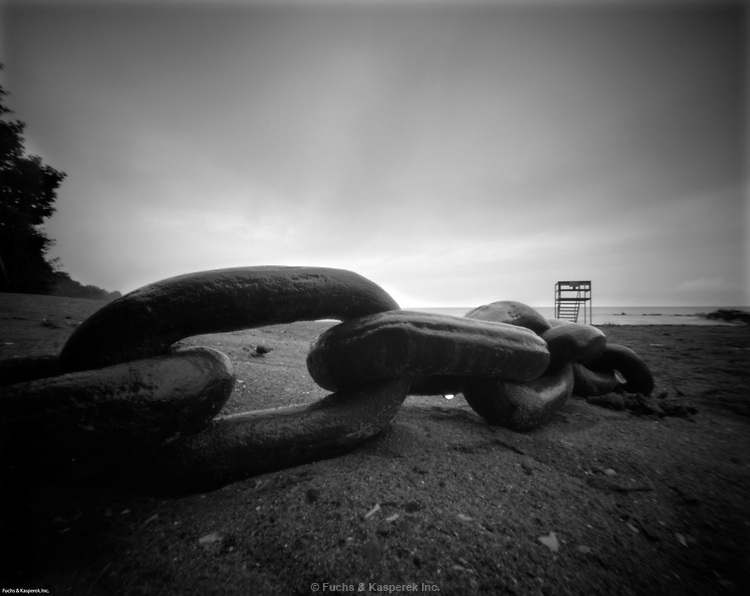 A large link of chain lies on the beach at the Huntington Reservation of the Cleveland Metroparks in Bay Village, Ohio.