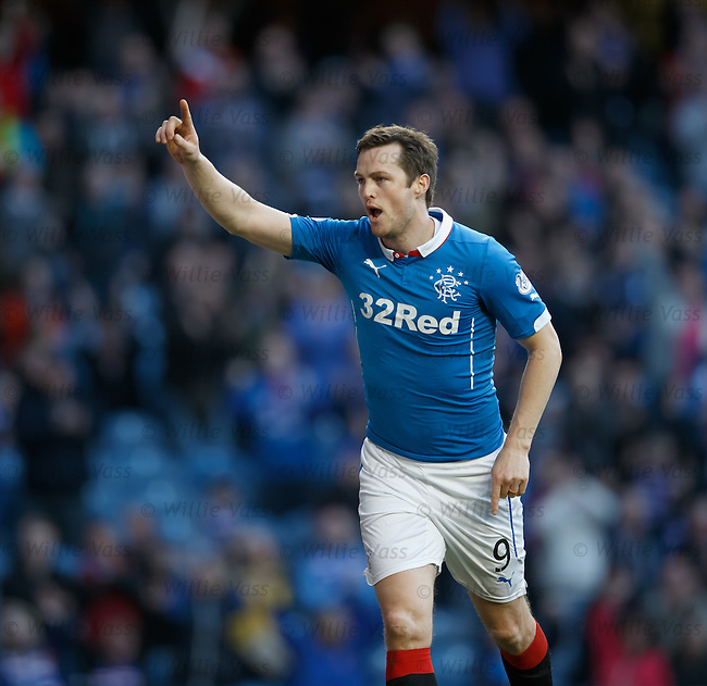 Jon Daly celebrates after scoring the fifth goal for Rangers