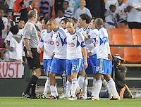 Montreal Impact forward Bernado Corradi (23) celebrates his score in the 68th minute of the game with teammates. D.C. United tied The Montreal Impact 1-1, at RFK Stadium, Wednesday April 18 , 2012.