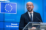 BRUSSELS - BELGIUM - 13 December 2019 -- EU-Summit with Heads of State - European Council meeting - Presidency of Finland. -- Charles Michel, President of the European Council during the press conference  -- PHOTO: Juha ROININEN / EUP-IMAGES