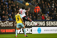Bolton Wanderers' Clayton Donaldson heads under pressure from Rotherham United's Joe Mattock<br /> <br /> Photographer Andrew Kearns/CameraSport<br /> <br /> The EFL Sky Bet Championship - Bolton Wanderers v Rotherham United - Wednesday 26th December 2018 - University of Bolton Stadium - Bolton<br /> <br /> World Copyright &copy; 2018 CameraSport. All rights reserved. 43 Linden Ave. Countesthorpe. Leicester. England. LE8 5PG - Tel: +44 (0) 116 277 4147 - admin@camerasport.com - www.camerasport.com