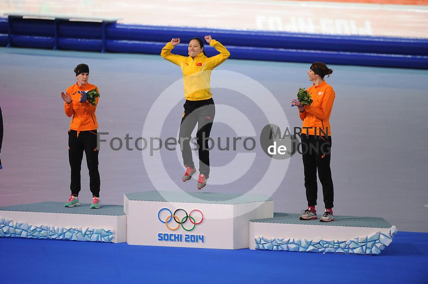 OLYMPICS: SOCHI: Adler Arena, 13-02-2014, 1000m Ladies, podium, Ireen Wüst (NED), Hong Zhang (CHN), Margot Boer (NED), ©foto Martin de Jong