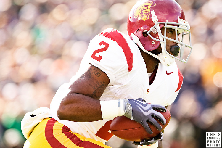 10/17/09 - South Bend, IN:  USC running back C.J. Gable returns the opening kickoff of their game against Notre Dame at Notre Dame Stadium on Saturday.  USC won the game 34-27 to extend its win streak over Notre Dame to 8 games.  Photo by Christopher McGuire.