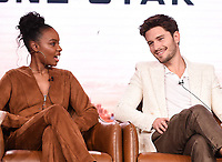 2020 FOX WINTER TCA: (L-R): 9-1-1: LONE STAR cast members Sierra McClain and Ronen Rubinstein during the 9-1-1: LONE STAR panel at the 2020 FOX WINTER TCA at the Langham Hotel, Tuesday, Jan. 7 in Pasadena, CA. © 2020 Fox Media LLC. CR: Frank Micelotta/FOX/PictureGroup