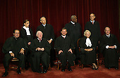 Washington, D.C. - October 31, 2005 -- The Supreme Court justices pose for their official photograph at the United States Supreme Court in Washington, D.C. on October 31, 2005. Left to right bottom row: Associate Justices Antonin Scalia, John Paul Stevens,  Chief Justice John G. Roberts, Jr., Associate Justices Sandra Day O'Connor and Anthony M. Kennedy.  Top Row: Associate Justices Ruth Bader Ginsburg, David H. Souter, Clarence Thomas, and Stephen G. Breyer.  .Credit: Dennis Brack - Pool via CNP