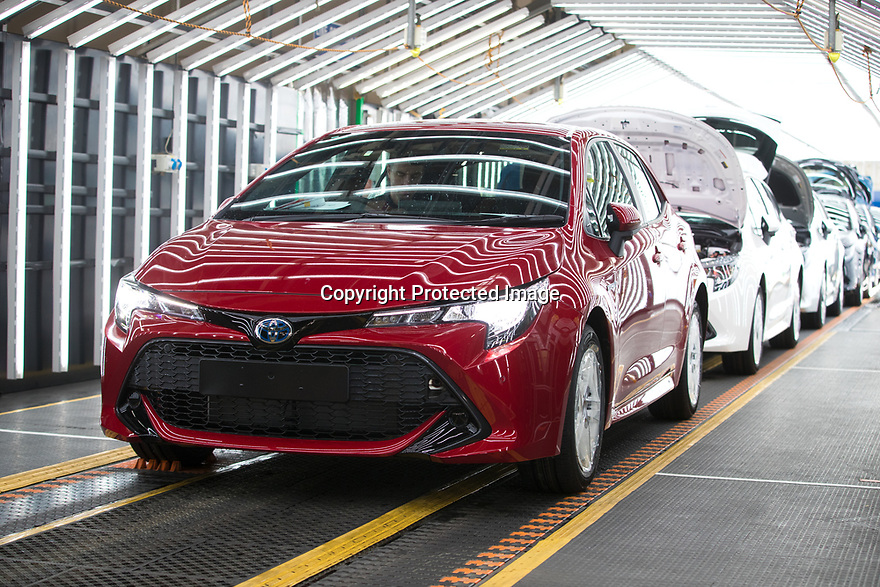 File photo dated 31/01/19 showing the start of Toyota Corolla production at Burnaston factory, Derbyshire, UK.<br /> <br /> Toyota and Suzuki have announced a new wide-ranging collaboration, which will involve Toyota producing Suzuki-badged hybrid vehicles based on the RAV4 and Corolla estate for the European market. The deal will include Suzuki vehicles being built at Toyota's Derbyshire plant.<br /> <br /> All Rights Reserved, F Stop Press Ltd.  (0)7765 242650  www.fstoppress.com rod@fstoppress.com