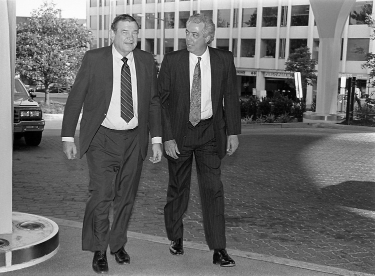 "Rep. Daniel David ""Dan"" Rostenkowski, D-Ill., Chairman of the Ways and Means Committee, and Rep. Martin Anthony Russo, D-Ill., arrive early for the Democratic National Committee dinner at the Washington Hilton. June 22, 1994 (Photo by Chris Martin/CQ Roll Call)"