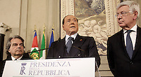 Italy's former Prime Minister and leader of Forza Italia Silvio Berlusconi (C) speaks, flanked by Forza Italia party's members Renato Brunetta (L), and Forza Italia Senator Paolo Romani, at the end of his  consultations  with Italian President Sergio Mattarella at the Quirinale Palace, on December 10, 2016.<br /> UPDATE IMAGES PRESS/IsabellaBonotto<br /> <br /> RENATO BRUNETTA Presidente Gruppo Parlamentare Forza Italia Camera<br /> PAOLO ROMANI Presidente Gruppo Parlamentare Forza Italia Senato