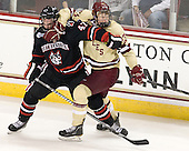 Dustin Darou (NU - 47), Patrick Brown (BC - 23) - The Boston College Eagles defeated the visiting Northeastern University Huskies 3-0 after a banner-raising ceremony for BC's 2012 national championship on Saturday, October 20, 2012, at Kelley Rink in Conte Forum in Chestnut Hill, Massachusetts.