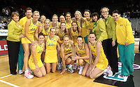 01.11.2012 Australia celebrate winning the Quad Series played at the Claudelands Arena in Hamilton. Mandatory Photo Credit ©Michael Bradley.