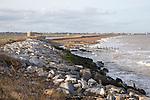 New rock armour coastal defences at East Lane, Bawdsey, Suffolk, England, UK