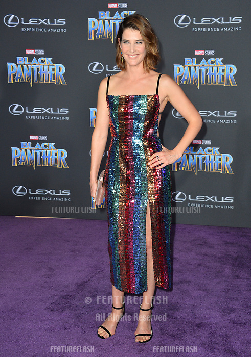 Cobie Smulders at the world premiere for &quot;Black Panther&quot; at the Dolby Theatre, Hollywood, USA 29 Jan. 2018<br /> Picture: Paul Smith/Featureflash/SilverHub 0208 004 5359 sales@silverhubmedia.com