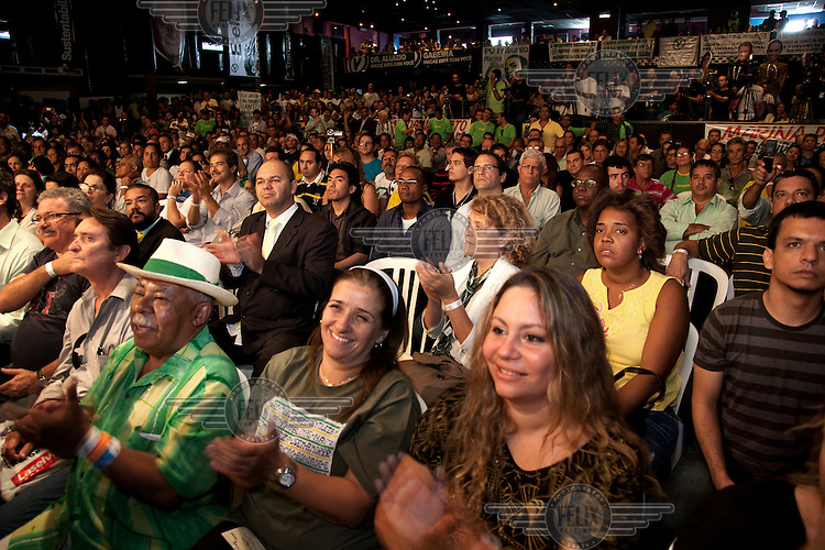 Crowds support Marina Silva, leader of the Green Party, at the launch of her presidential campaign in Nova Iguacu.
