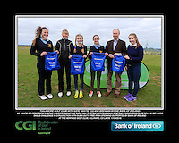 Tullamore Golf Club Girls With Kate Wright CGI and Brendan Byrne Bank of Ireland.<br /> Junior golfers from across Leinster practicing their skills at the regional finals of the Dubai Duty Free Irish Open Skills Challenge supported by Bank of Ireland at the Heritage Golf Club, Killinard, Co Laois. 2/04/2016.<br /> Picture: Golffile | Fran Caffrey<br /> <br /> <br /> All photo usage must carry mandatory copyright credit (© Golffile | Fran Caffrey)