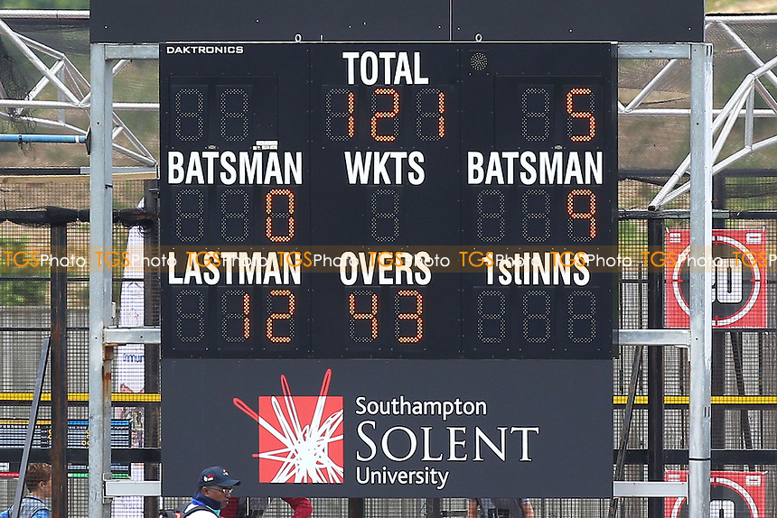 The scoreboard shows that Essex have been bowled out for 121 runs in their first innings - Hampshire CCC vs Essex CCC - LV County Championship Division Two Cricket at the Ageas Bowl, West End, Southampton - 16/06/14 - MANDATORY CREDIT: Gavin Ellis/TGSPHOTO - Self billing applies where appropriate - 0845 094 6026 - contact@tgsphoto.co.uk - NO UNPAID USE