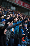 Blackburn Rovers 3 Shrewsbury Town 1, 14/01/2018. Ewood Park, League One. Home fans in the Blackburn End Stand react to a contentious decision during the first-half as Blackburn Rovers played Shrewsbury Town in a Sky Bet League One fixture at Ewood Park. Both team were in the top three in the division at the start of the game. Blackburn won the match by 3 goals to 1, watched by a crowd of 13,579. Photo by Colin McPherson.